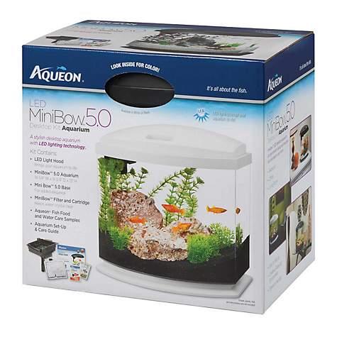 Aqueon minibow led desktop fish aquarium kit in white petco for Petco fish tank decor