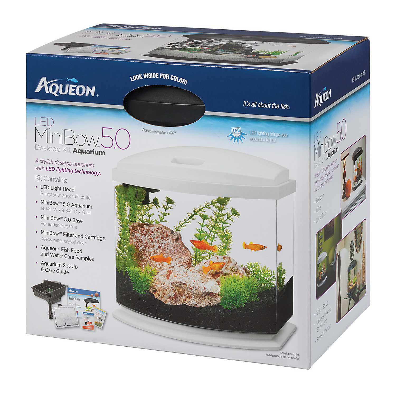 Aqueon Minibow White Led Desktop Fish Aquarium Kit 5 Gal.