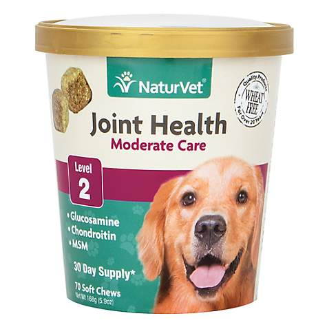 NaturVet Joint Health Moderate Care Dog Soft Chews, 70 chews