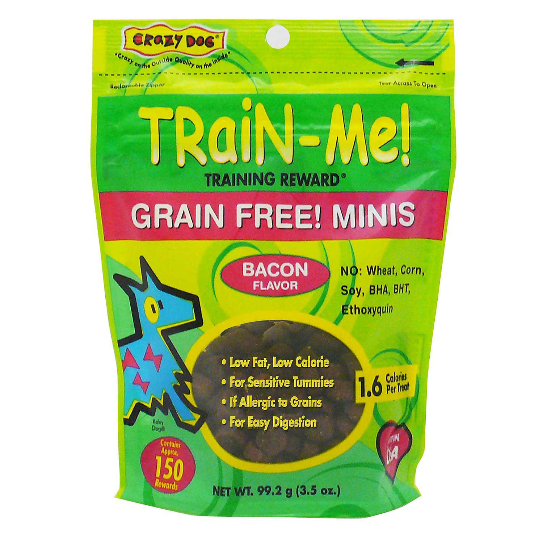 Crazy Dog Train Me Grain Free Minis Training Reward Bacon Dog Treats 3.5 Oz Bag 150 Count.