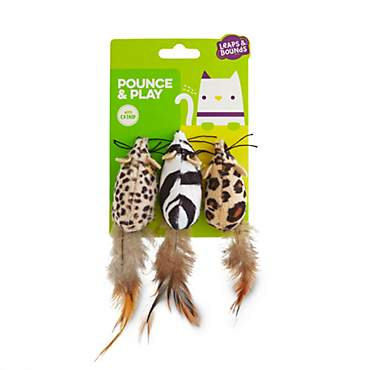 Leaps & Bounds Safari Mice Cat Toys with Catnip