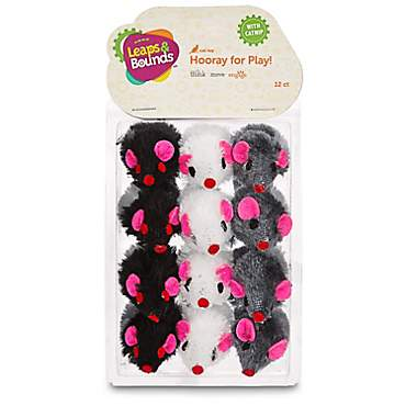 Leaps & Bounds Fuzzy Mice Cat Toys with Catnip