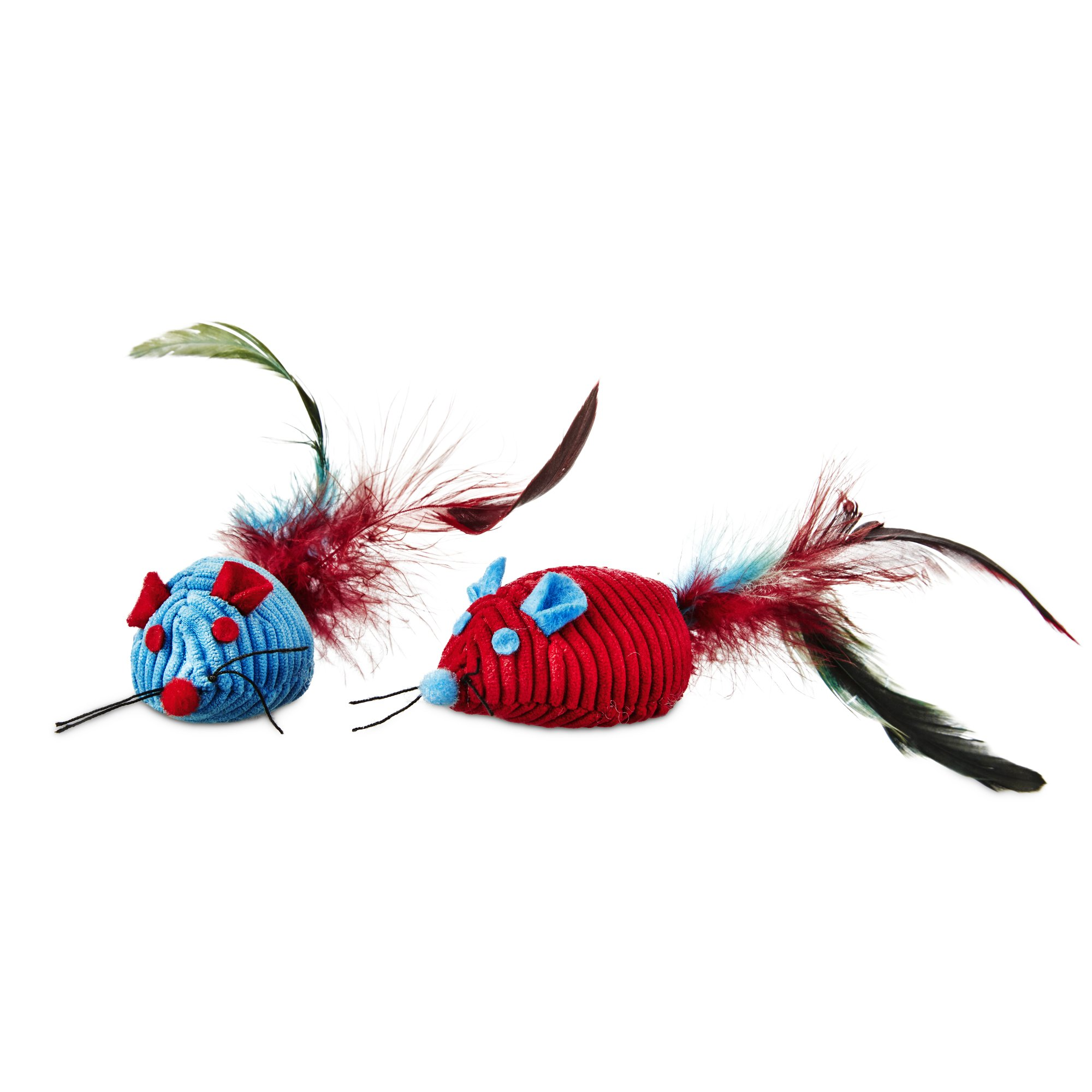 leaps & bounds fancy mice with feather cat toys with catnip | petco