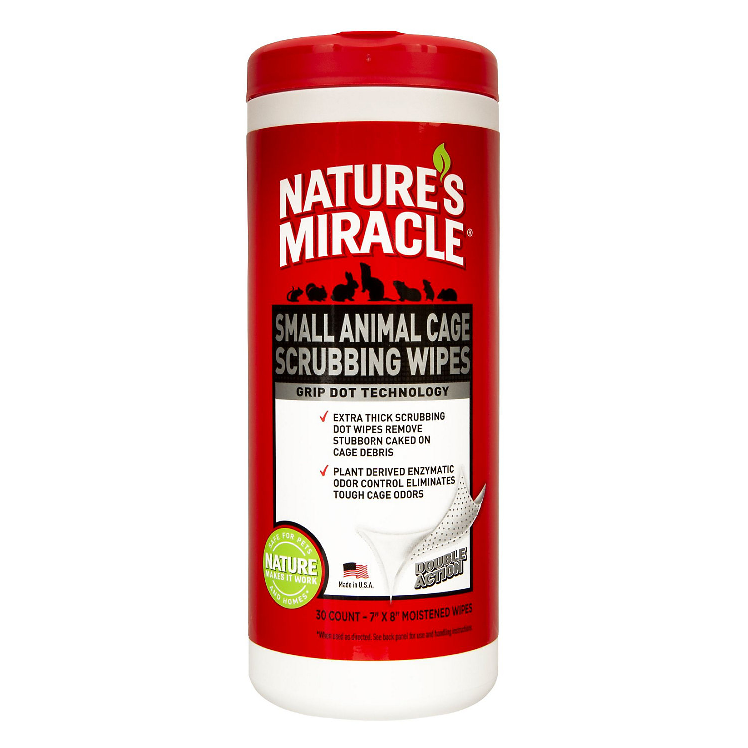 Natures Miracle Small Animal Cage Scrubbing Wipes 30 Count Red