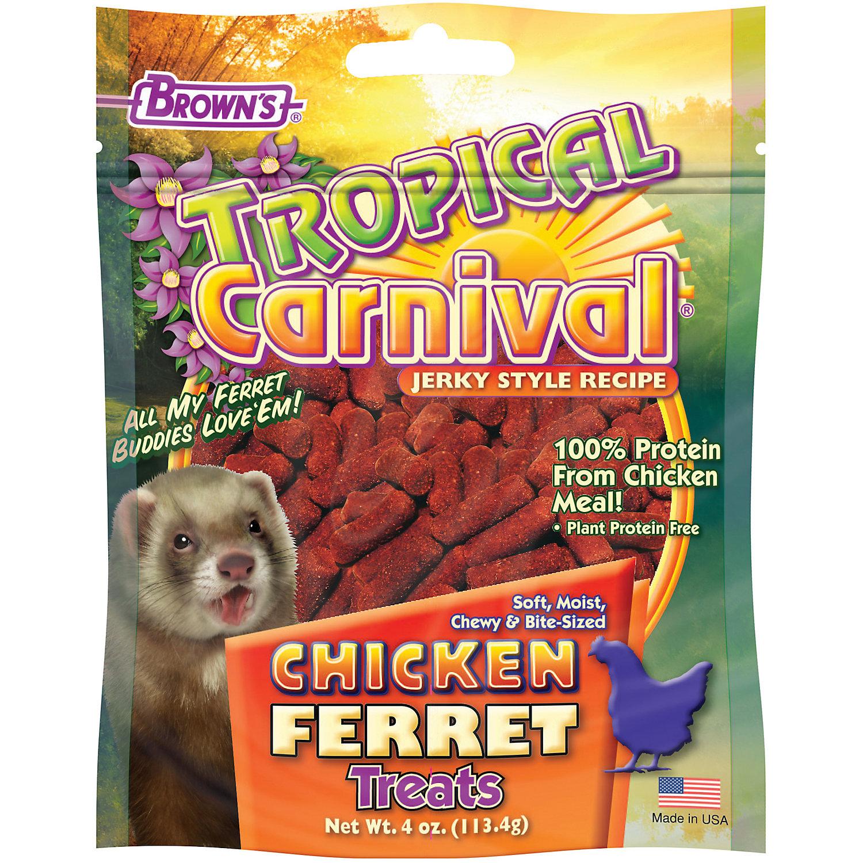 Browns Tropical Carnival Jerky Chicken Ferret Treats 4 Oz.