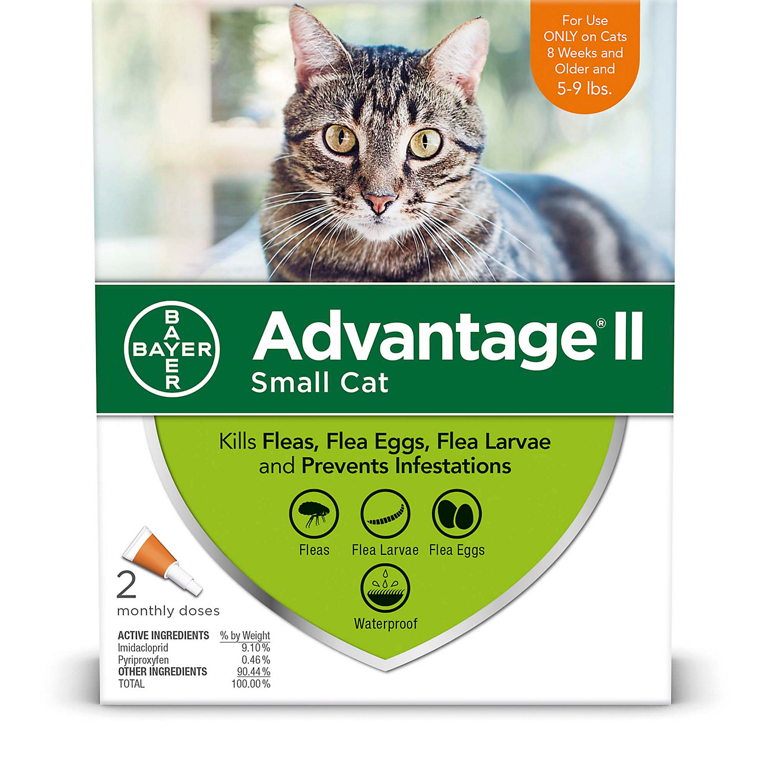 Advantage Ii Once A Month Topical Small Cat Flea Treatment 2 Mo. 5 To 9 Lbs.