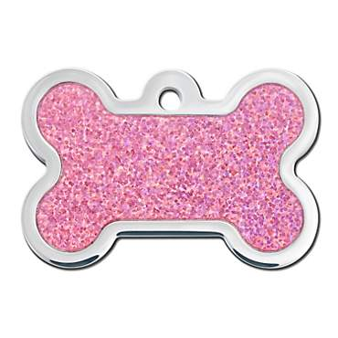 Quick-Tag Pink Hologram Bone Personalized Engraved Pet ID Tag, Large