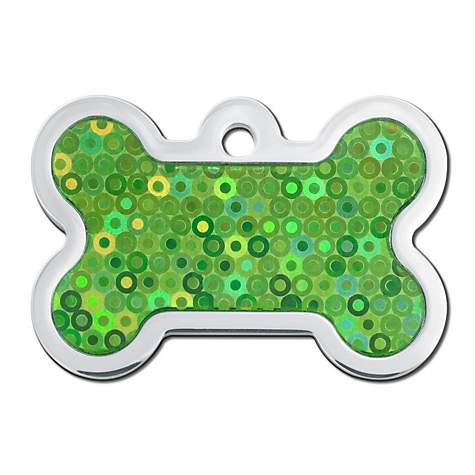 Quick-Tag Green Hologram Bone Personalized Engraved Pet ID Tag, Large