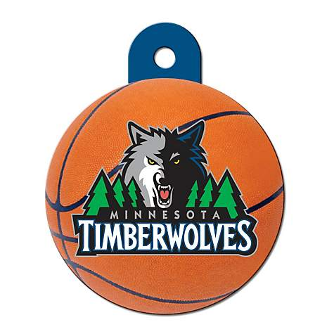 Quick-Tag Minnesota Timberwolves NBA Circle Personalized Engraved Pet ID Tag, Large