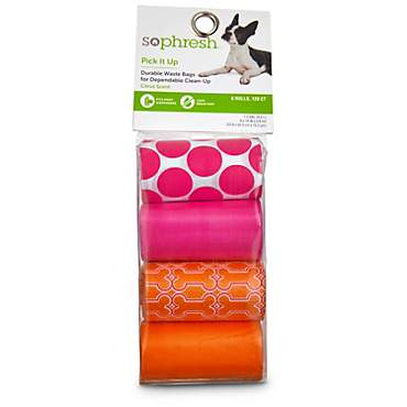 So Phresh Pick It Up Print Scented Dog Waste Bags, Pink/Orange