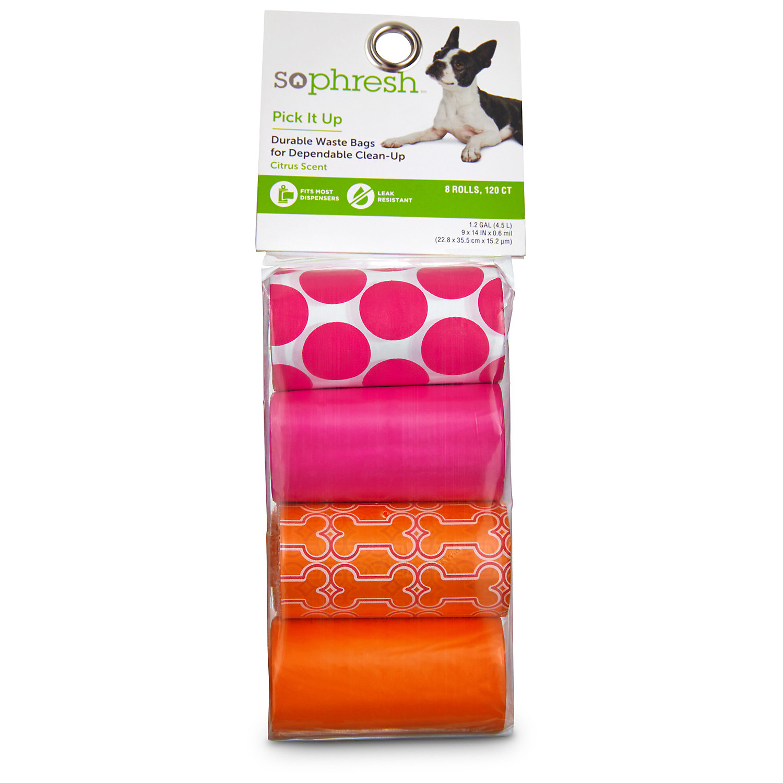 So Phresh Pick It Up Print Scented Dog Waste Bags Pink/orange 120 Count Regular Orange / Pink
