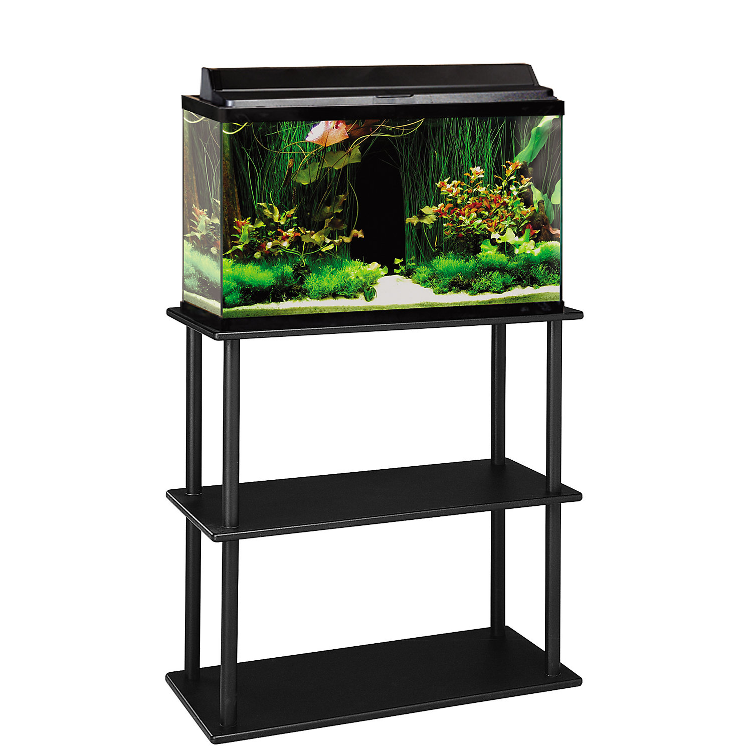 Aquatic Fundamentals 20/29/37 Gallon Aquarium Stand With Shelf Black