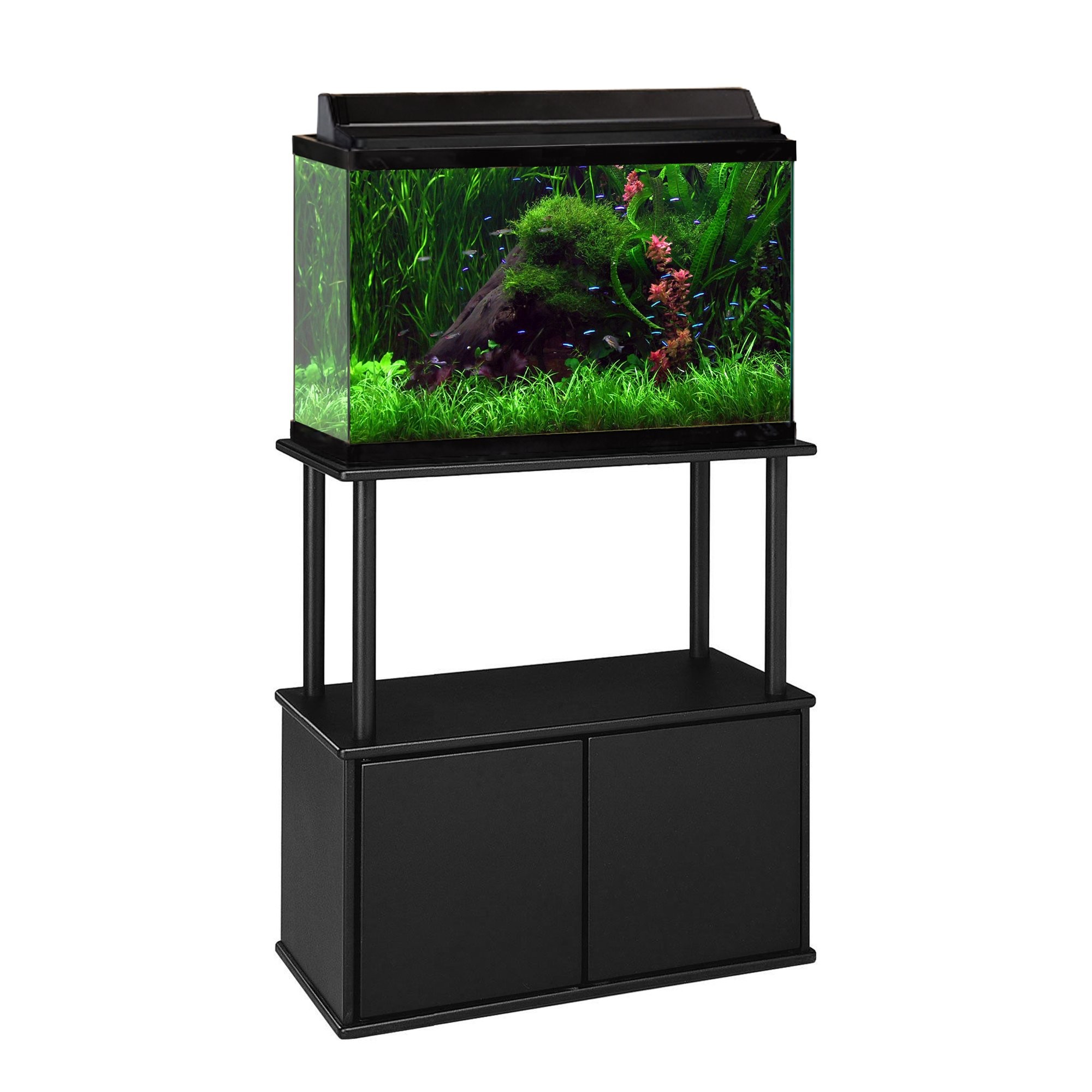 Aquatic fundamentals 10 20 gallon aquarium stand with for Fish tank table stand