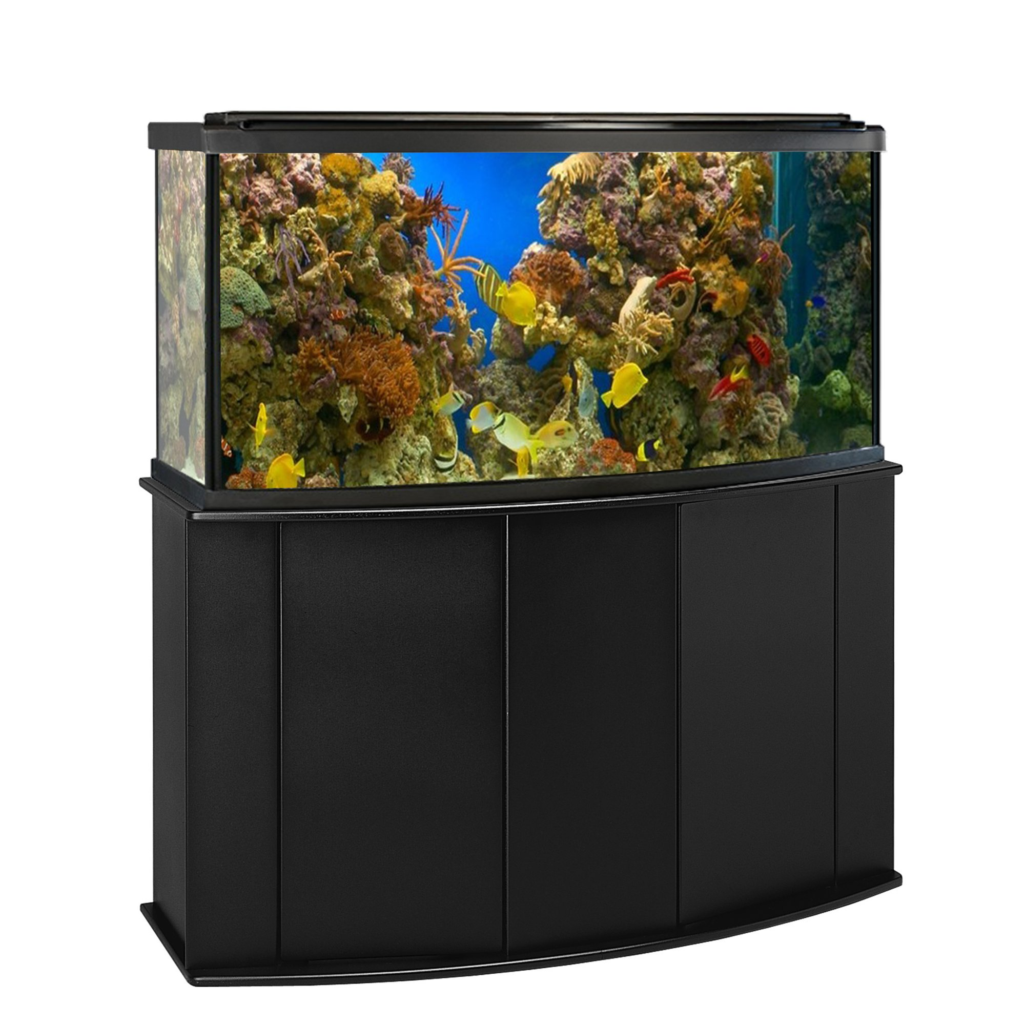 Aquatic fundamentals 72 gallon bowfront aquarium stand petco for 55 gallon fish tank petco