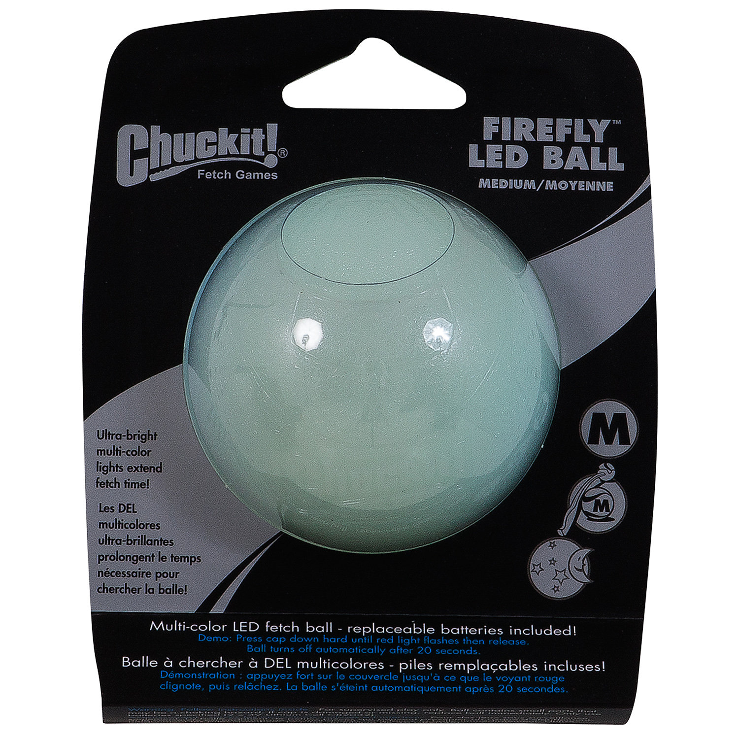 Chuckit! LED Firefly Ball Dog Toy, Medium ()