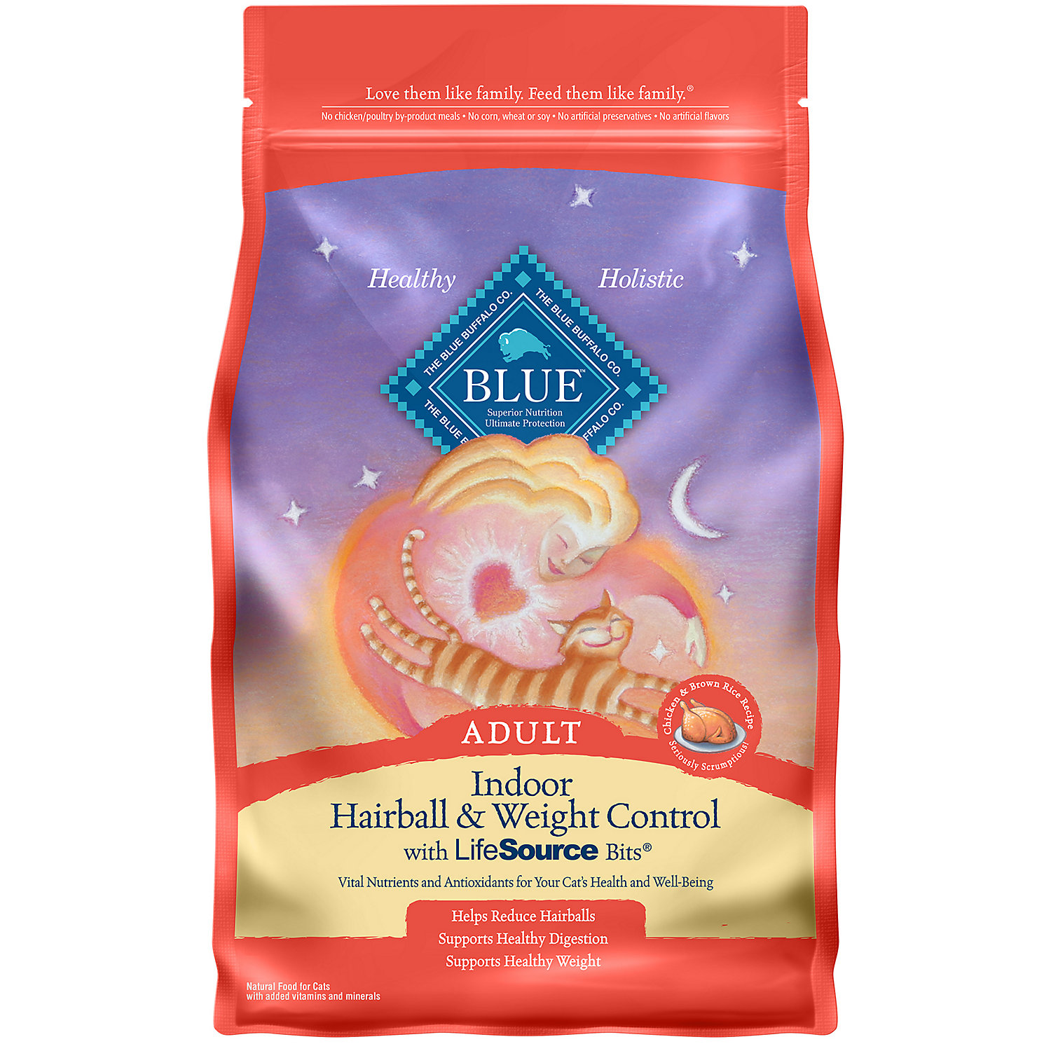 Blue Buffalo Indoor Hairball Weight Control Chicken Brown Rice Adult Cat Food 3 Lbs.