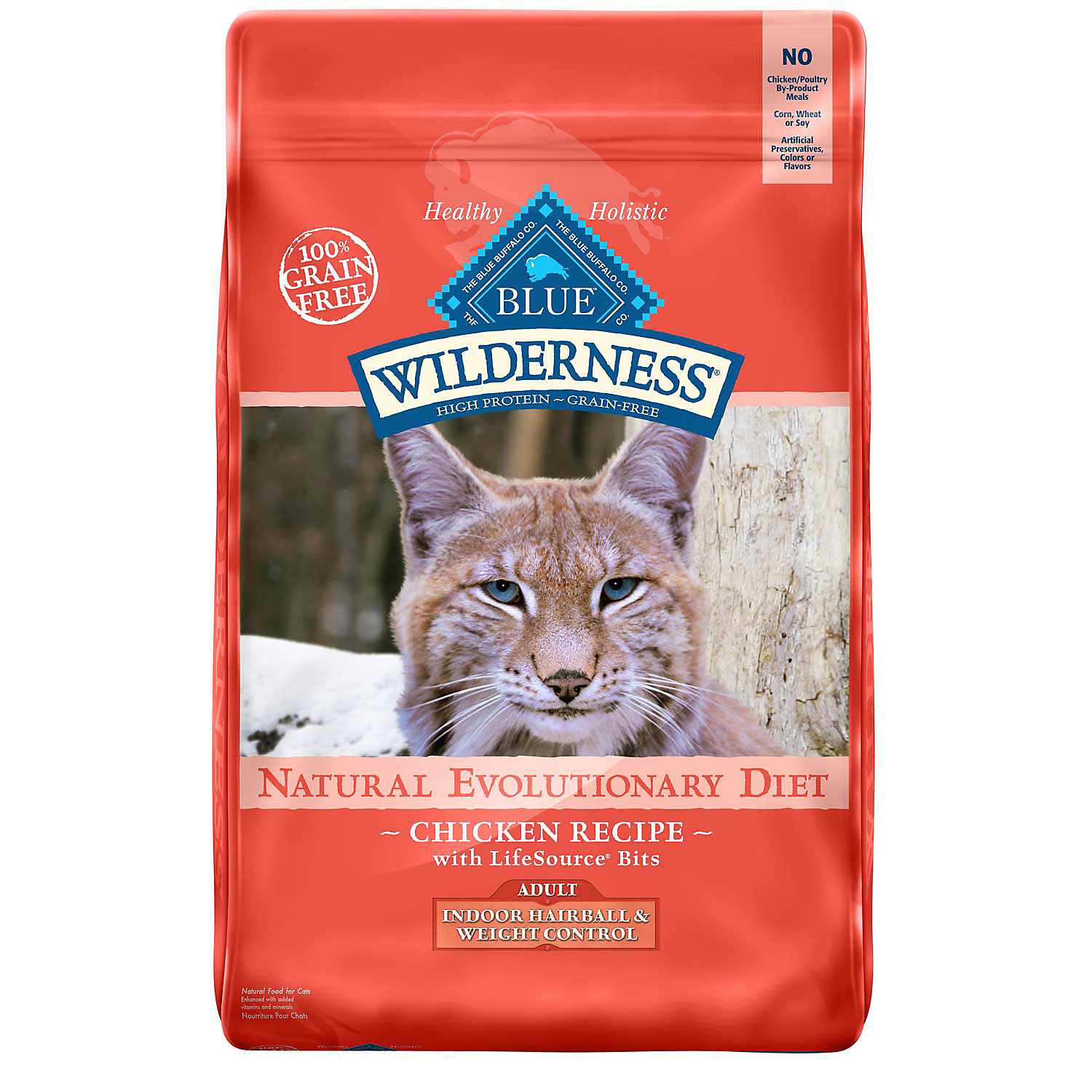 Blue Buffalo Wilderness Indoor Hairball Weight Control Chicken Adult Cat Food 5 Lbs.