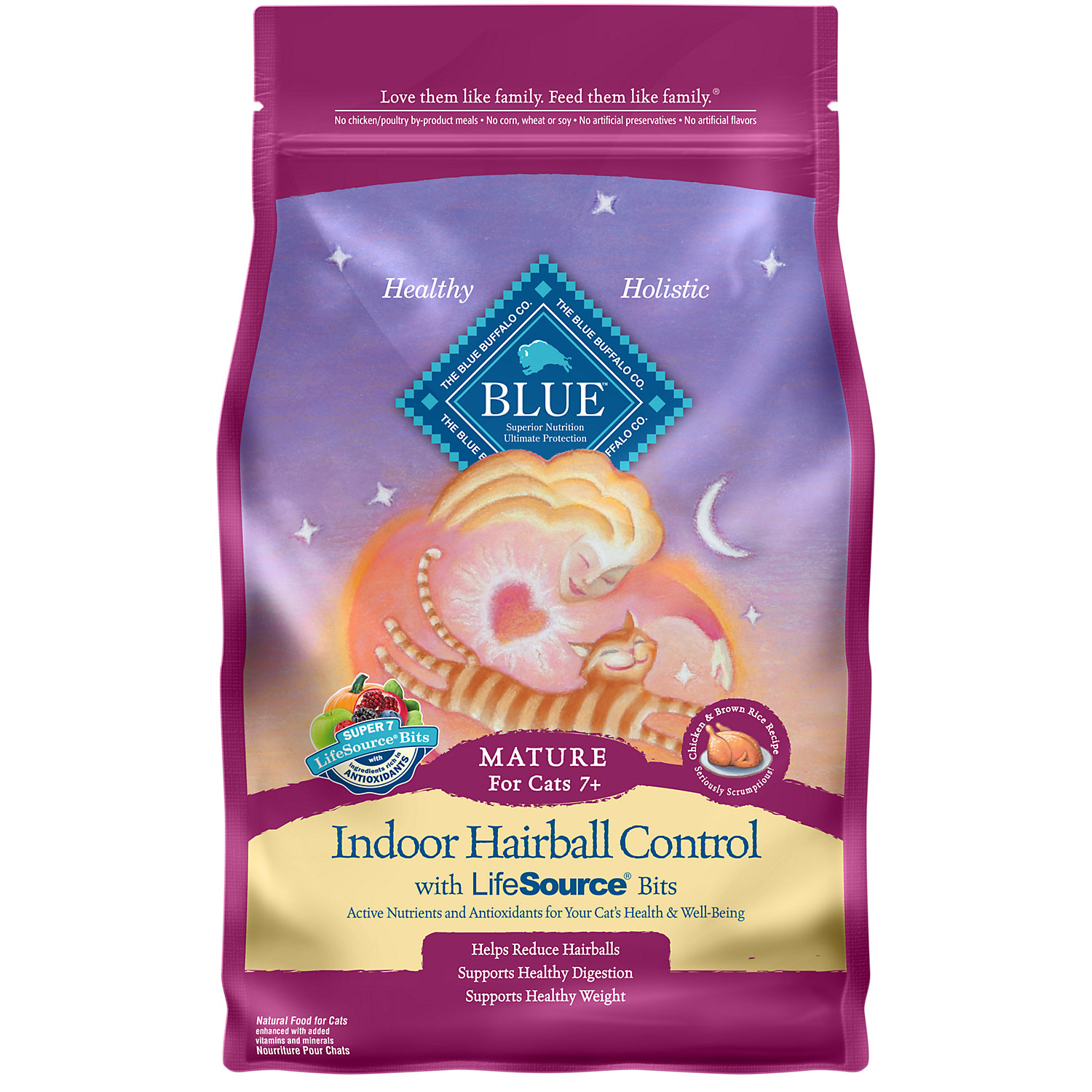Blue Buffalo Indoor Hairball Control Chicken Brown Rice Senior Cat Food 7 Lbs.