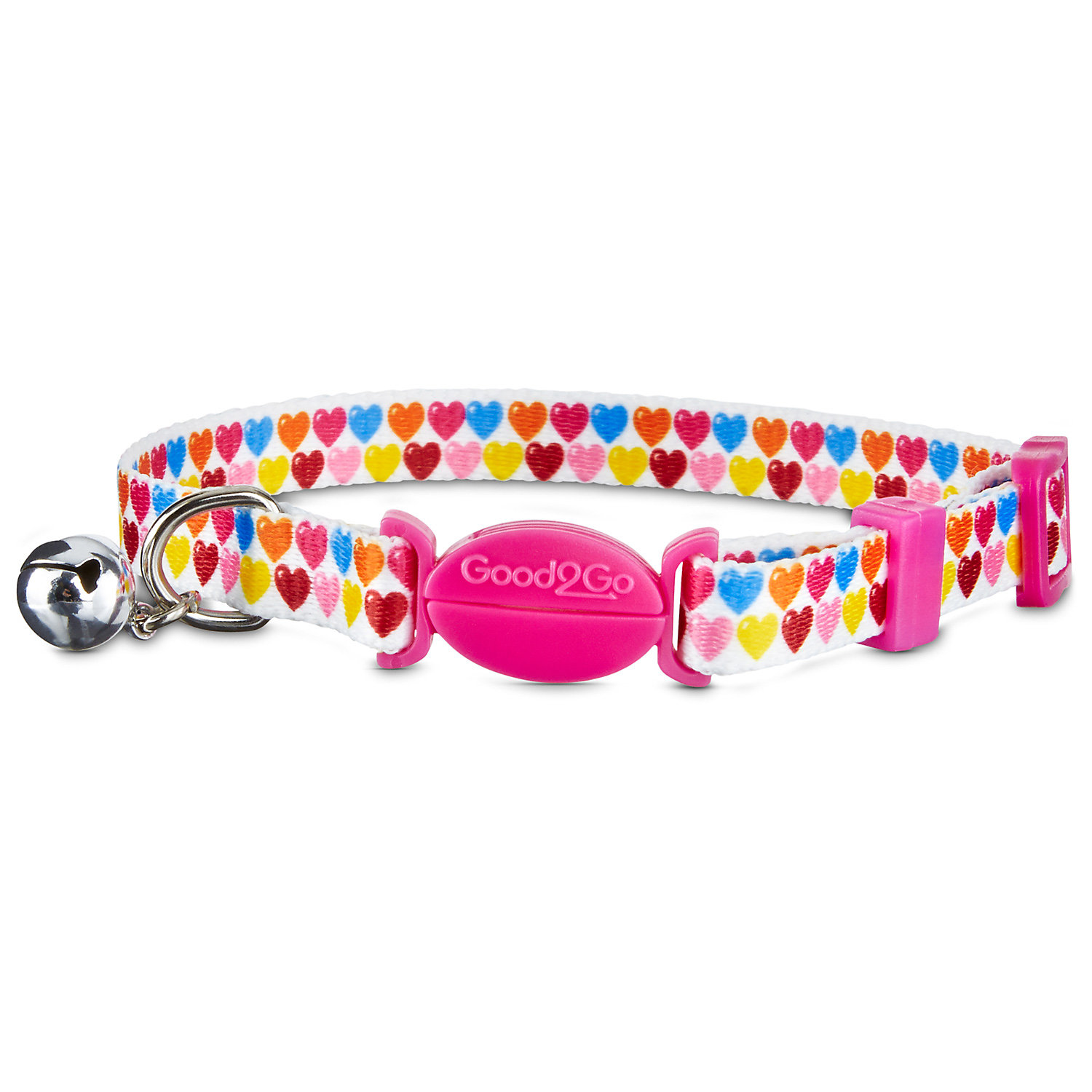 Good2go Multicolor Heart Breakaway Cat Collar For Necks 8 12 One Size Fits All Multi Color