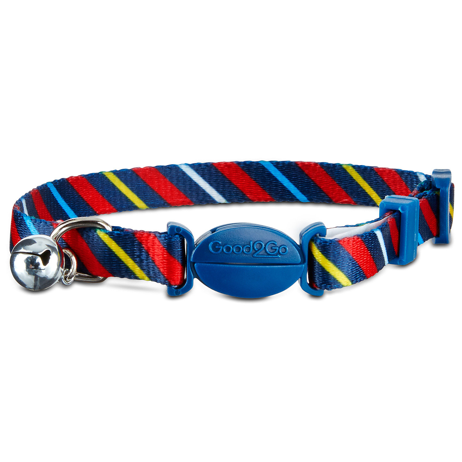 Good2go Tie Striped Breakaway Cat Collar For Necks 8 12 One Size Fits All Multi Color