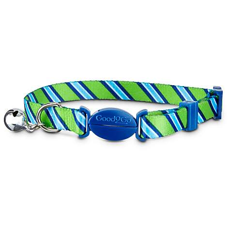 Good2Go Green Striped Breakaway Cat Collar