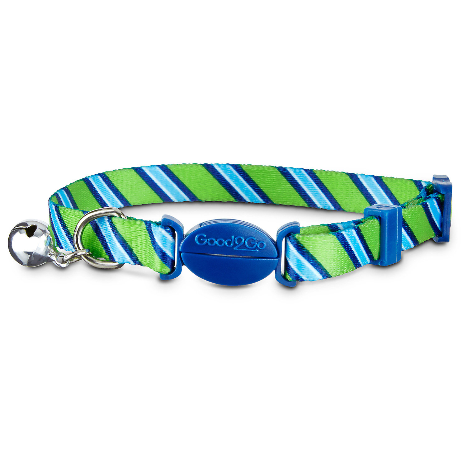 Good2go Green Striped Breakaway Cat Collar For Necks 8 12 One Size Fits All