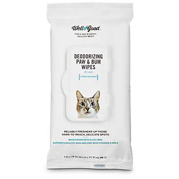 Well & Good Deodorizing Paw and Bum Cat Wipes