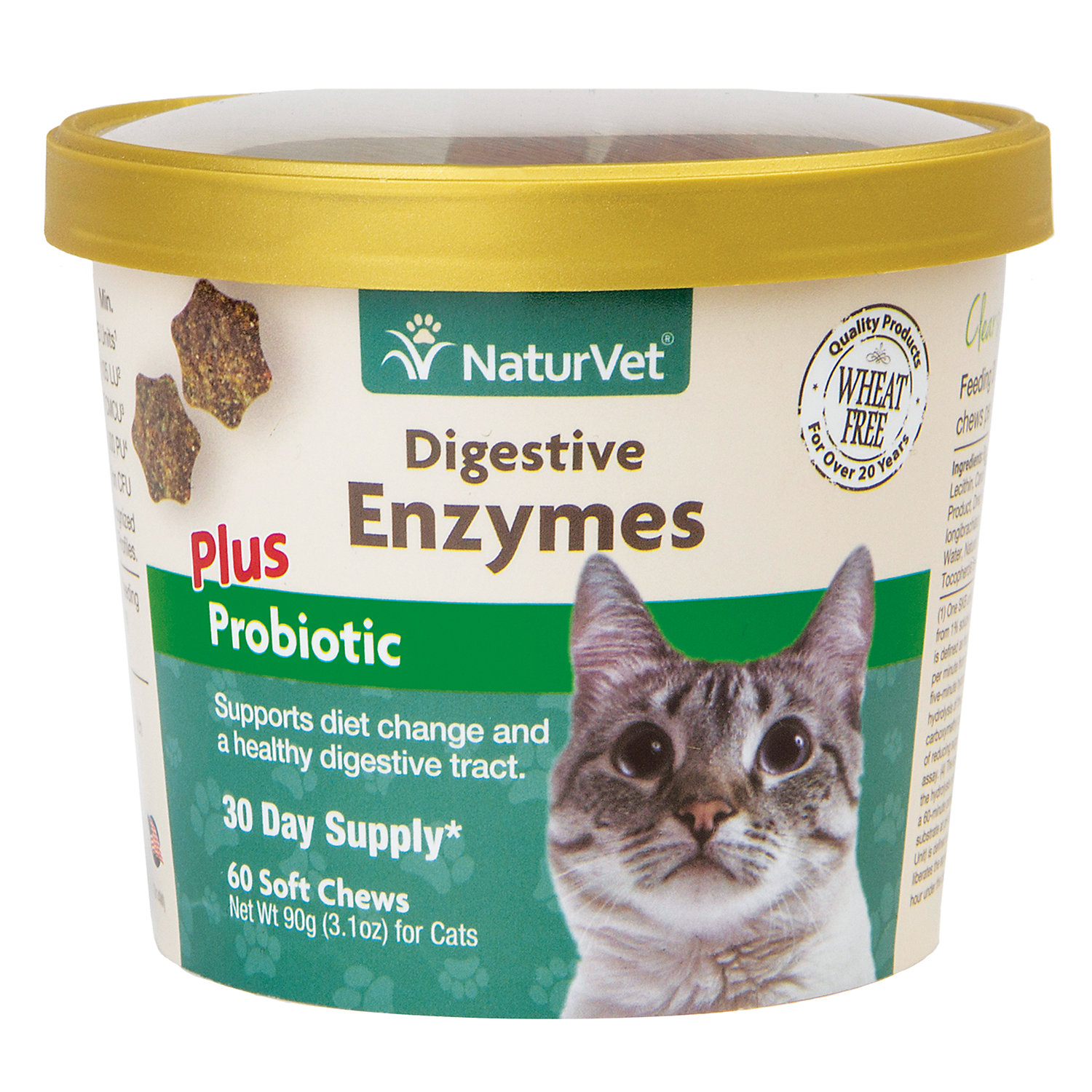Naturvet Digestive Enzymes Cat Supplement Pack Of 60 Soft Chews
