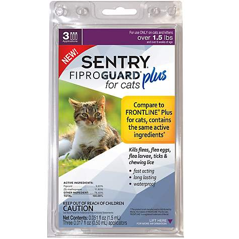 Sentry FIPROGUARD PLUS for Cats & Kittens Over 1 5 lbs  Topical Flea & Tick  Treatment, 3 Month Supply