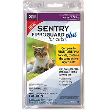 Sentry FIPROGUARD PLUS for Cats & Kittens Over 1.5 lbs. Topical Flea & Tick Treatment
