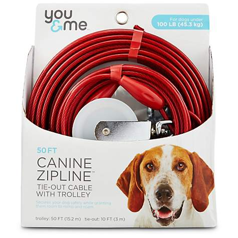 You & Me Red Large Canine Zipline Dog Tie-Out Cable with Trolley