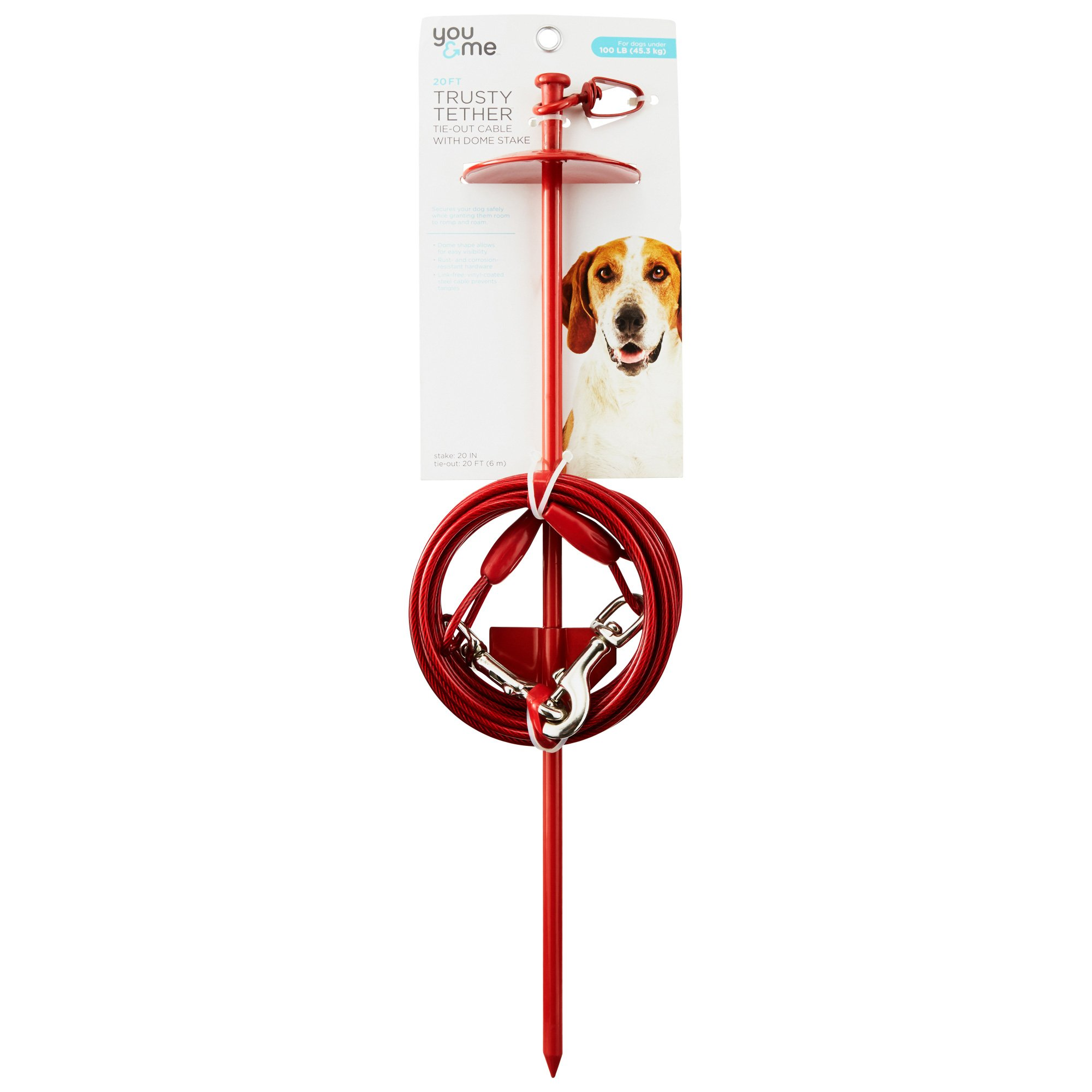 Image of You & Me Trusty Tether Red Tie-Out Cable with Dome Stake, Large