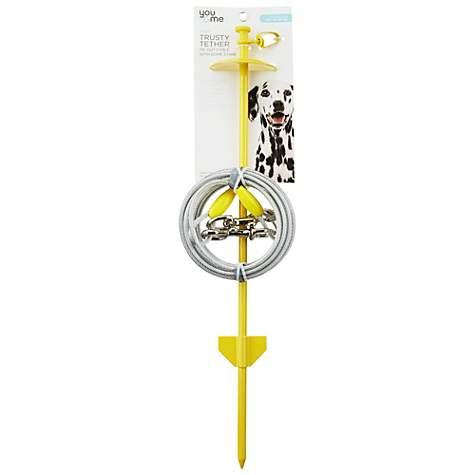 You & Me Trusty Tether Yellow Tie-Out Cable with Dome Stake