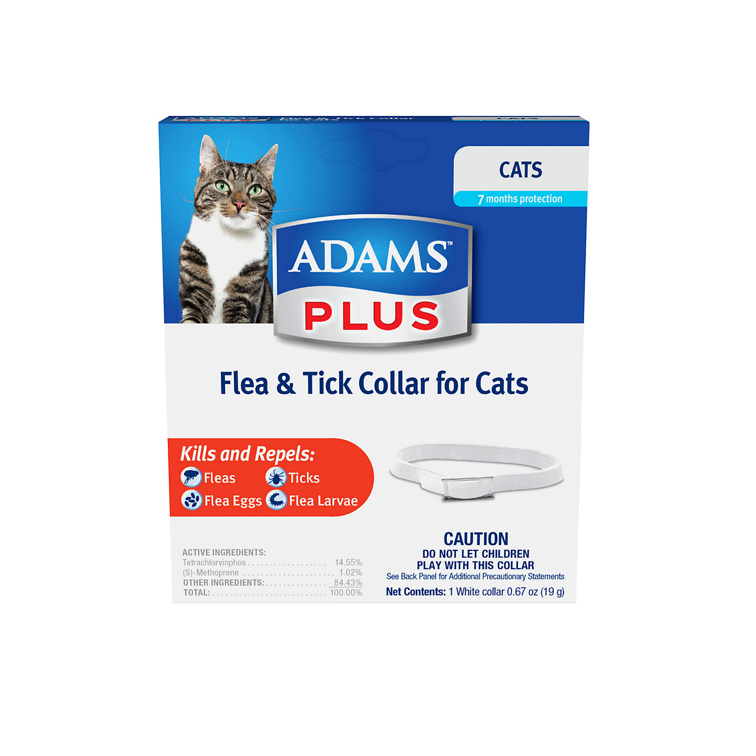 Adams Plus Flea Tick Collar For Cats White