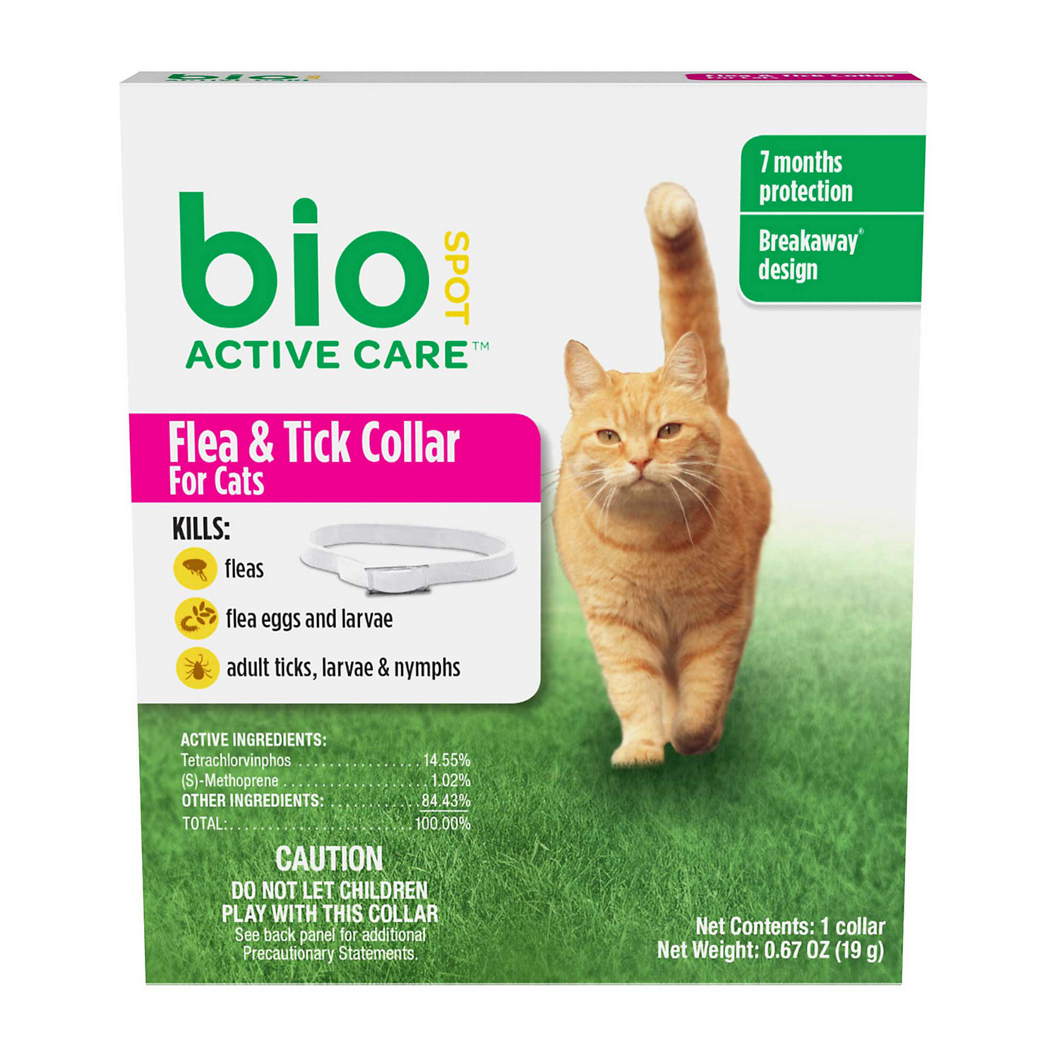 Bio Spot Active Care Flea Tick Cat Collar White