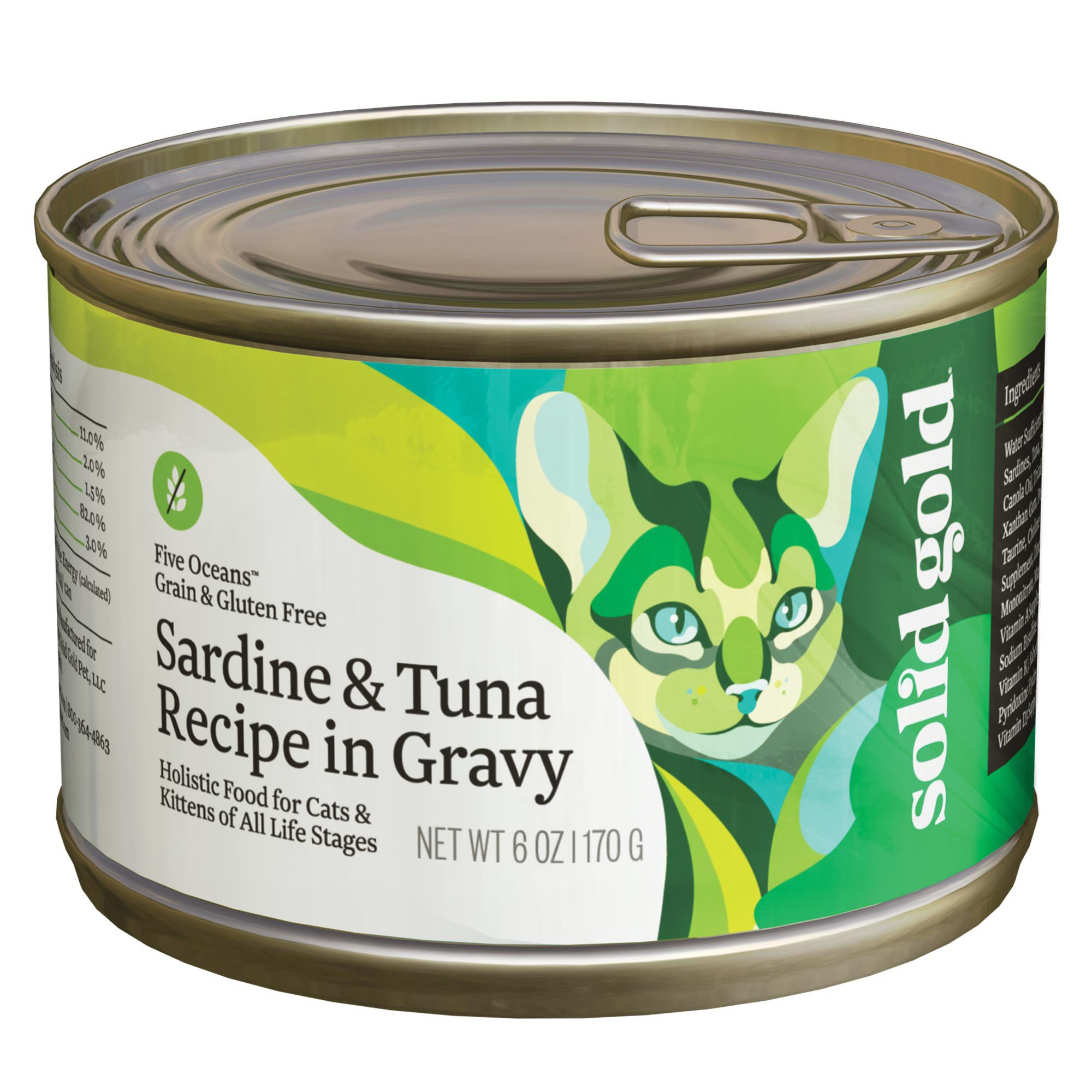 Solid gold five oceans sardine tuna grain free canned for Is tuna fish good for cats