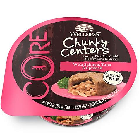Wellness CORE Chunky Centers Natural Grain Free Salmon, Tuna and Spinach Recipe Wet Dog Food