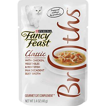 Purina Fancy Feast Broths Classic With Chicken, Vegetables & Whitefish Wet Cat Food Complement
