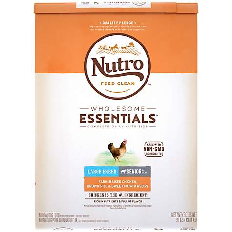 NUTRO WHOLESOME ESSENTIALS Farm-Raised Chicken, Brown Rice & Sweet Potato Recipe Dry Large Breed Senior Dog Food