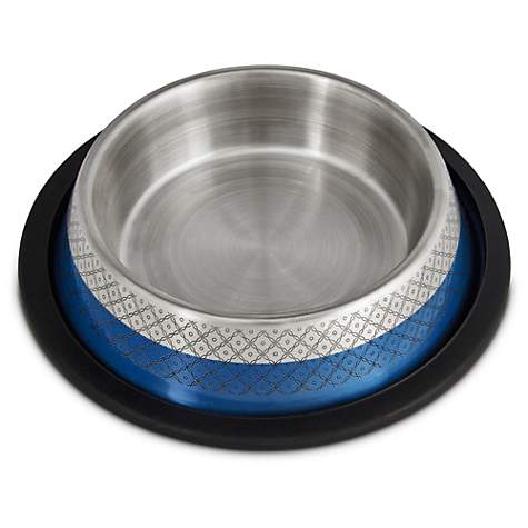 Harmony Blue Etched No Tip Stainless Steel Bowl Petco