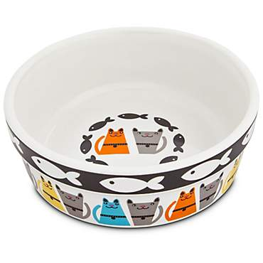 Harmony Tough Guys Ceramic Cat Bowl