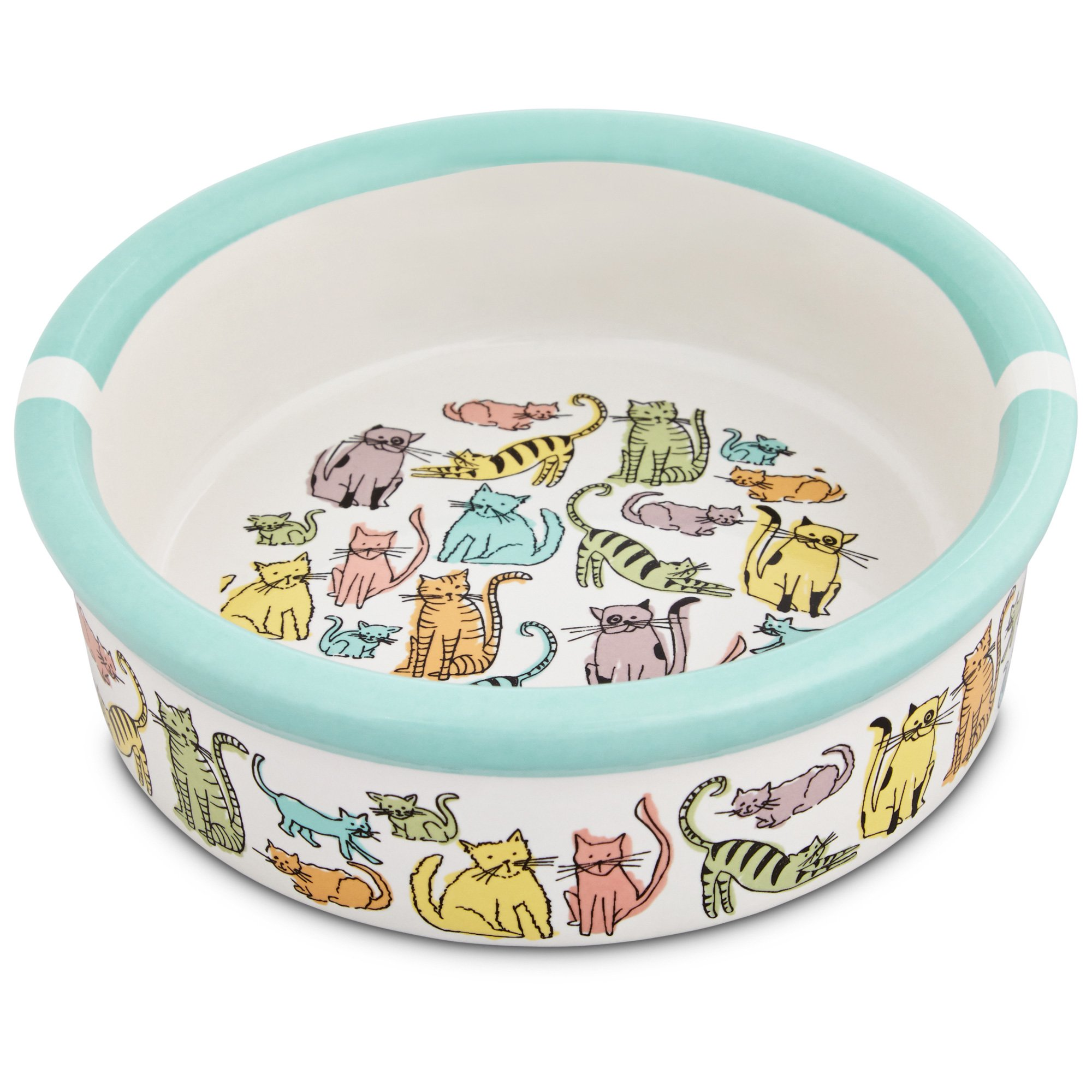 Harmony Cat Town Ceramic Cat Bowl Petco
