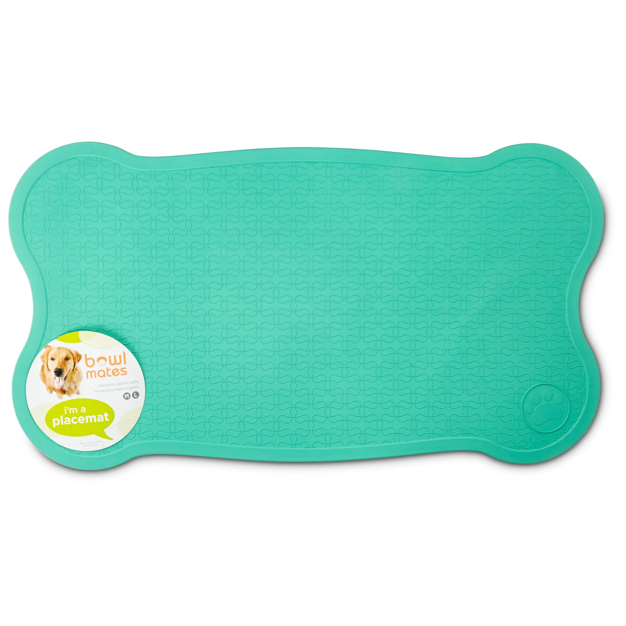 Dog Training Placemat: Bowlmates Mint Bone Placemat, Medium/Large