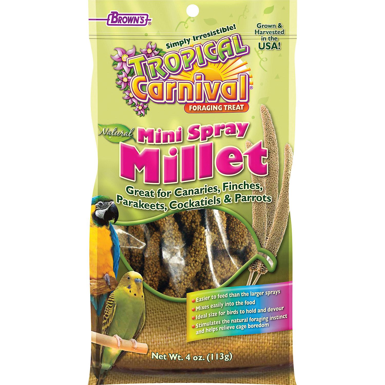 Browns Tropical Carnival Natural Mini Spray Millet Bird Treats 4 Oz.