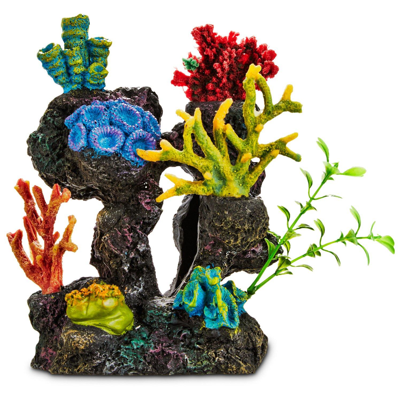 imagitarium coral reef with silk plants aquarium ornament