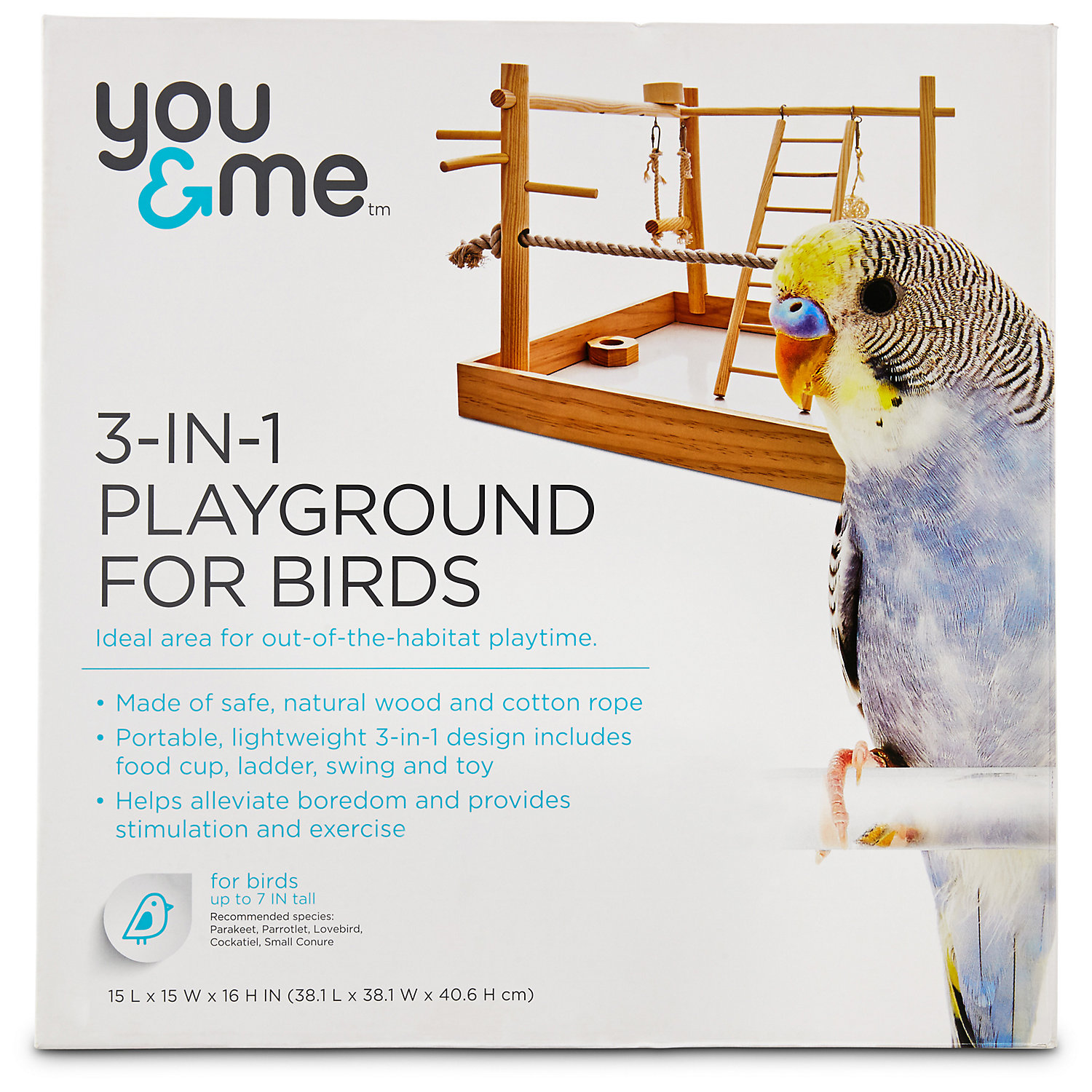 You Me 3 In 1 Playground For Birds 15 L X 15 W X 16 H