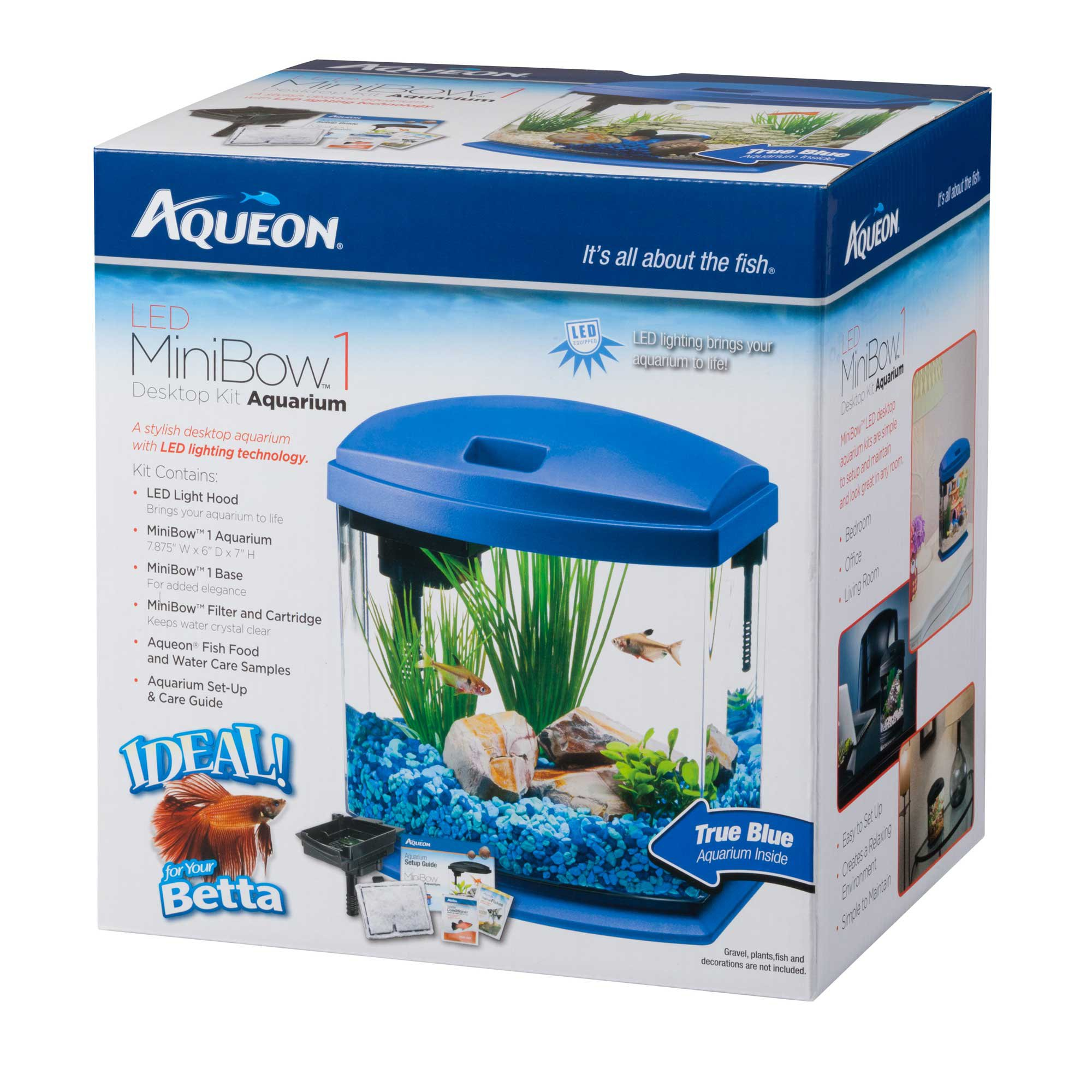 Aqueon minibow blue led desktop fish aquarium kit petco for Aqueon fish tank