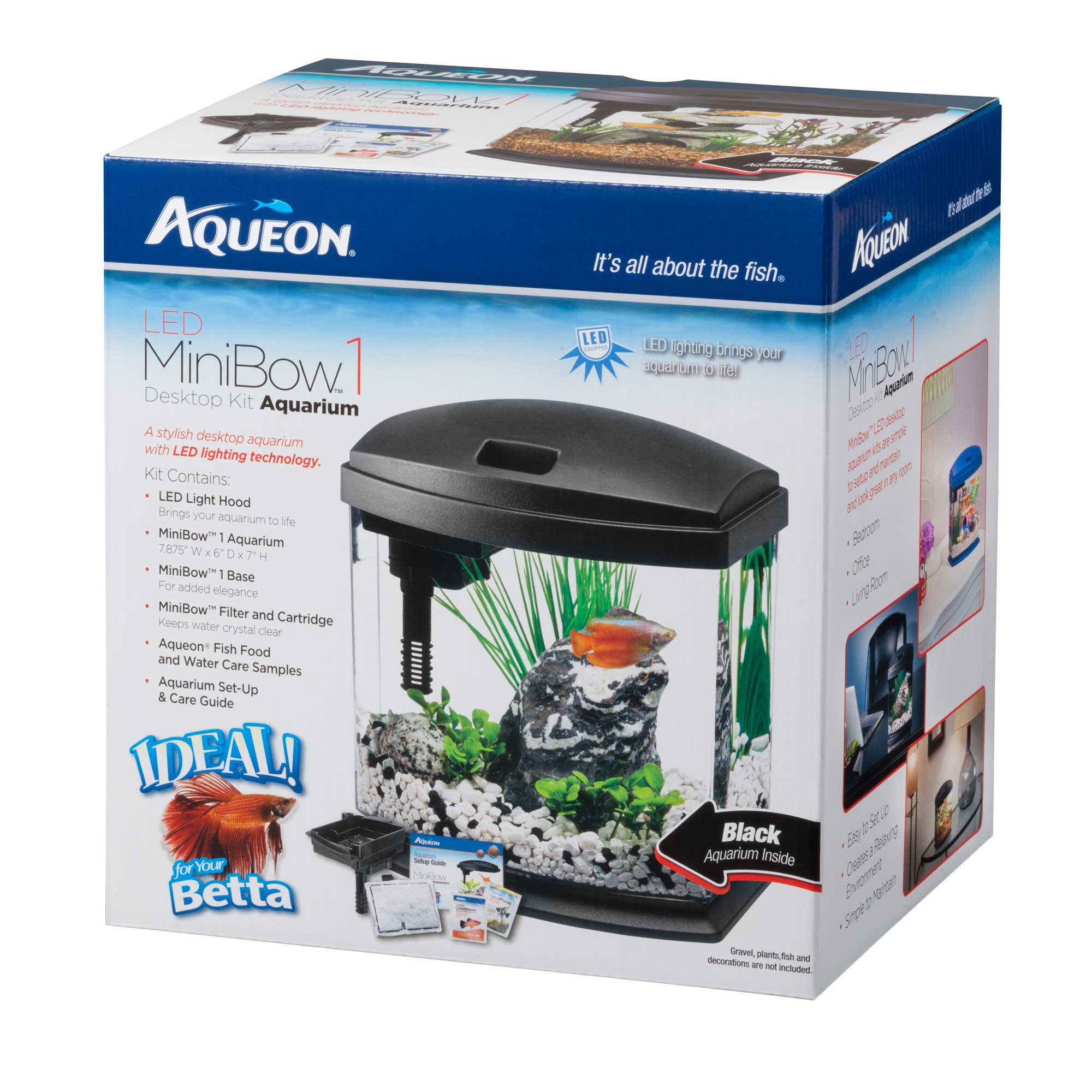Aqueon minibow black led desktop fish aquarium kit petco for Betta fish tanks petco