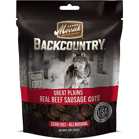 Merrick Backcountry Great Plains Real Beef Sausage Cuts Grain Free Dog Treats