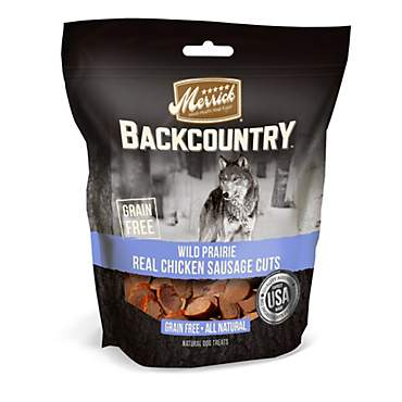 Merrick Backcountry Wild Prairie Real Chicken Sausage Cuts Grain Free Dog Treats
